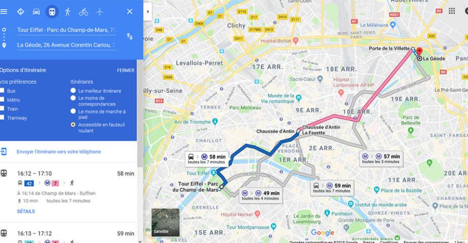 Google Maps, option fauteuil roulant